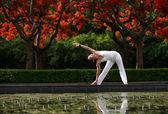 Yoga stretching — Stock Photo