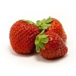 Three juicy strawberries on white background — Stock Photo