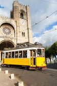 Characteristic tram tour through the streets of Lisbon in Portug — Stock Photo