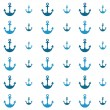 Background with blue anchors — Stock Vector