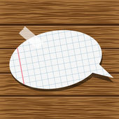 Paper speech bubble and wood background — Stock Vector