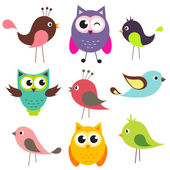 Vector set of cute birds — Vector de stock