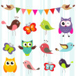 Stockvektor : Set of cute birds and butterflies