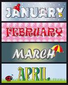 January february march april — Stock Photo