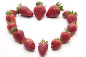 Strawberries in heart form — Stock Photo