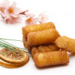 Croquettes fries and lemon — Stock Photo