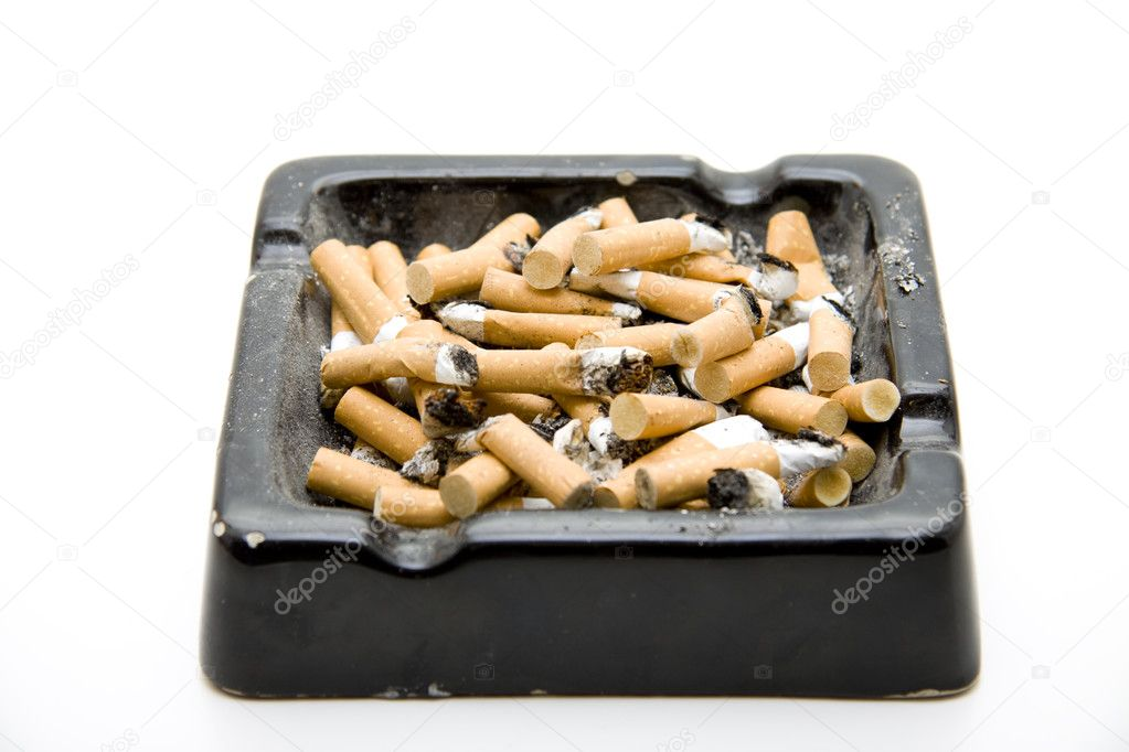 Ashtray completely with cigarets and ash on white background — Stock Photo #10861624