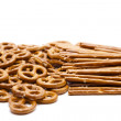 Saltsticks and salted pretzel — Stock Photo #10880032