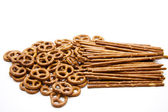 Saltsticks and salted pretzel — Stock Photo