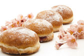 Donuts with powdered sugar — Stock Photo