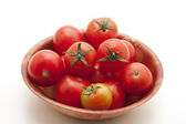 Shrub tomatoes in the bowl — Stock Photo