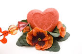 Dear heart with flowers and arrow — Foto de Stock