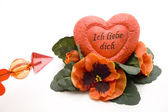 Dear heart with flowers — Foto de Stock