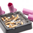 Ashtray with Inhaler — Stock Photo