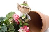 Geraniums with straw doll — Stock Photo