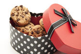 Cookies with chocolate in the heart — Stock Photo