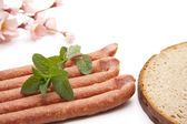 Bologne sausage with mint — Stock Photo