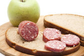 Garlic salami with apple — Stock Photo