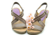 Ladies sandals with flower — Foto Stock