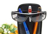 Ballpoint pen with sunglasses — Stock Photo
