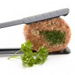 Minced meat in Gridiron — Stock Photo