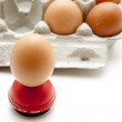 Stock Photo: Eggs with egg engraver