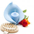 Blue Candle with brush - Foto Stock