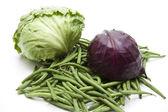 Gröna bönor med rödkål — Stockfoto