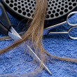 Scissors with hairpiece — Stockfoto