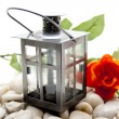 Lantern with rose — Stock Photo