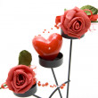 Heart candle with roses — Stock Photo