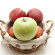 Fresh apples in basket — Stock Photo #12388943