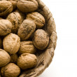 Brown Walnuts in Basket — Stock Photo