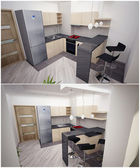 3d interior of the kitchen in the apartment — Stock Photo