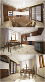 3d interior of the kitchen — Stock Photo