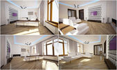 3d interior of the living room — Stok fotoğraf