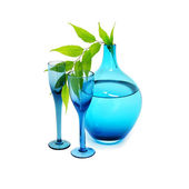 Blue Vase and wine glasses — Stock Photo