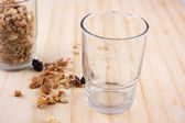 Natural muesli with empty small glass — Stock Photo