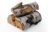 Firewood on white — Stock Photo