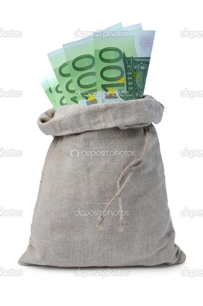 Euro bills in a sack, on white background — Stock Photo #10885924