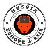 Rusya, avrupa ve asya damga — Stok Vektör