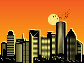 City at sunset — Stock Vector