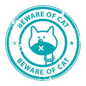 Beware of Cat stamp — Stock Vector