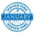 January - winter time stamp — Stock Vector
