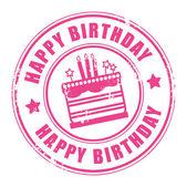 Zadowolony urodziny pieczęć — Wektor stockowy