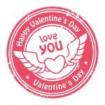 Happy Valentine's Day stamp — Stock Vector