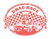 Drag yarışı damgası — Stok Vektör