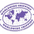 Worldwide shipping stamp — Stockvectorbeeld