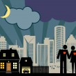 Couple in night city — Vector de stock