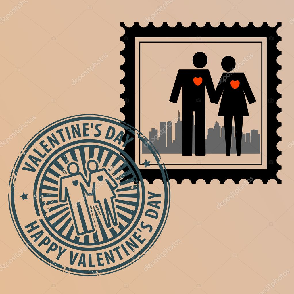 Postage stamp with couple and postmark with text Valentine Day — Stock Vector #11981891